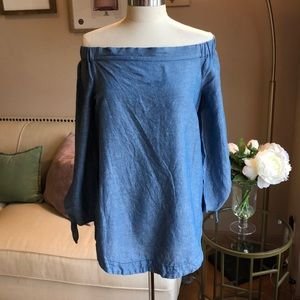 Free People off the shoulder chambray tunic